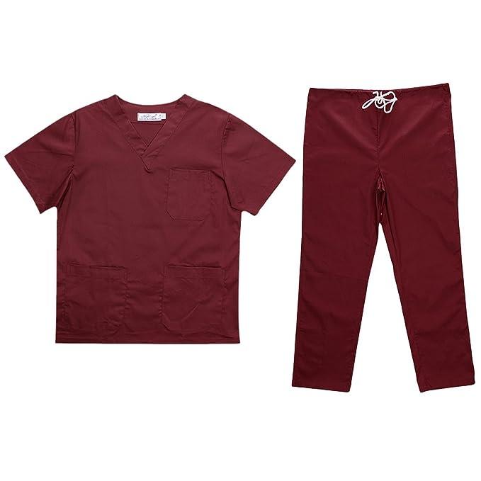 MagiDeal Uniforme de Enfermería Ropa para Disfraces Clinica Hospital Hombres Mujeres Púrpura/Azul/Rosado