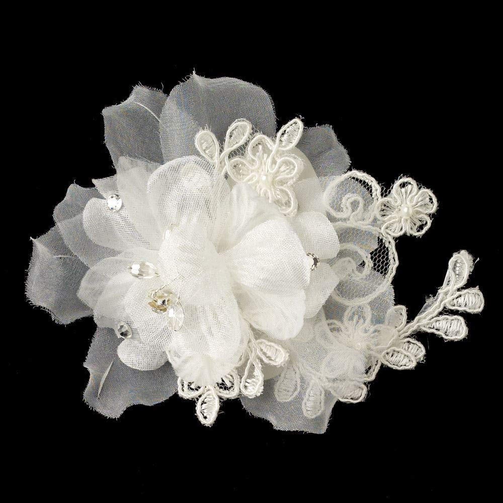Ivory Organza Floral Lace Pearl Crystal Bridal Hair Clip by gingsengparty (Image #1)