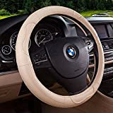 Movement Fashion Genuine Leather Car Steering Wheel Cover Fits 38cm 15 inch Auto Steering Breathable Anti Slip Skidproof - Beige