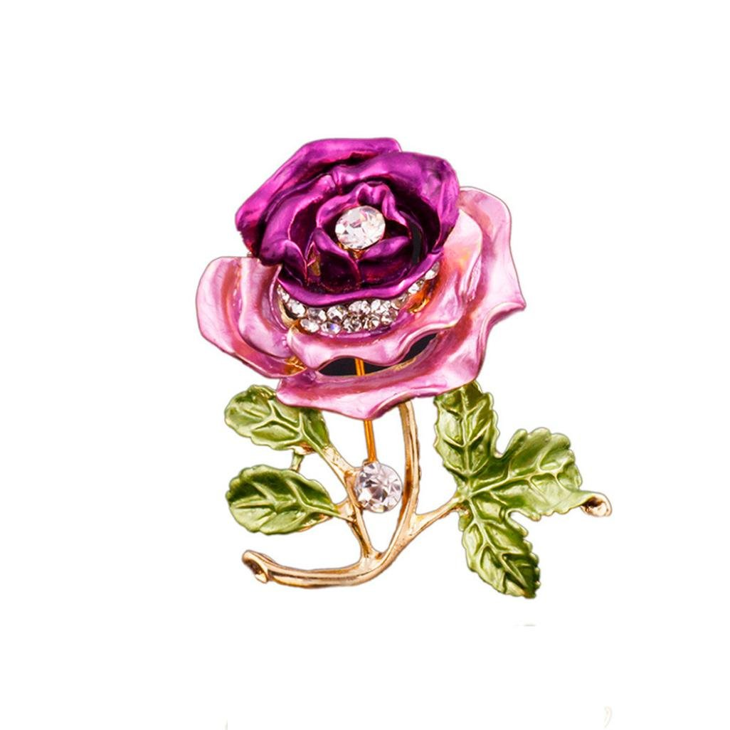 Amazon.com  Botrong Crystal Red Rose Pins Rhinestone Flower Brooch Women  Clothing Accessories (Purple)  Sports   Outdoors f1729b9fa347