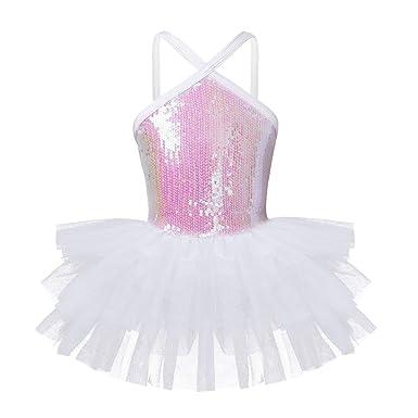 YiZYiF Vestido Tutú Ballet Danza para Niñas Maillot Tirantes con Lentejuelas Brillantes Vestido Princesa Body Baile Traje Disfraz Bailarina Infantil