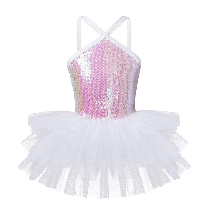 YOOJIA Ni/ñas Vestido de Danza con Lentejuelas Brillantes Maillot de Ballet Falda de Tut/ú con Manguitas 4-12 A/ños