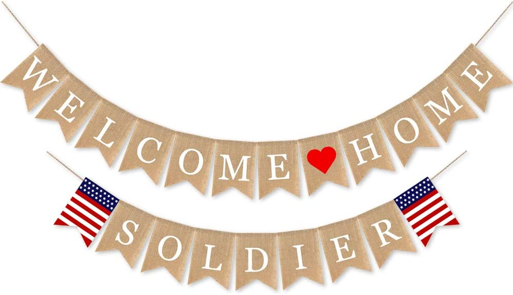 SWYOUN Burlap Welcome Home Soldier Banner Military Army Family Homecoming Party Decorations