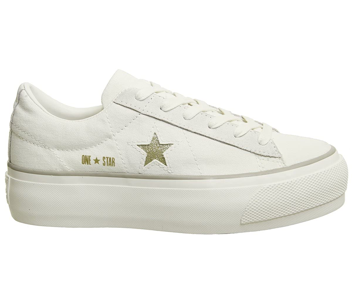 Converse Sneakers One Star Platform Ox Bianco-Oro 560985C Bianco