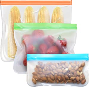 Tangibay Reusable Food Storage Bags, 12 Count BPA Free PEVA Freezer Bags (2 Leakproof Reusable Gallon Bags + 5 Reusable Sandwich Lunch Bags + 5 Kids Snack Bags) for Food Meal Prep Meat Fruit Veggies