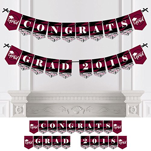 Maroon Grad - Best is Yet to Come - Burgundy Graduation Party Bunting Banner - Party Decorations - Congrats Grad 2018