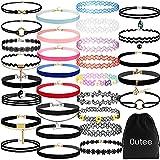 Arts & Crafts : Outee 30 PCS Black Velvet Choker Necklace Set Henna Tattoo Choker Set Velvet Tattoo Ribbon Velvet Choker Set for Teen Girls Women