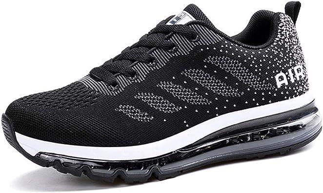 Monrinda - Zapatillas de deporte para mujer y hombre, con acolchado de aire, zapatillas deportivas ligeras, color Negro, talla 41.5 EU: Amazon.es: Zapatos y complementos
