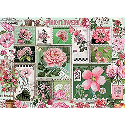 Cobblehill 80042 1000 pc Pink Flowers Puzzle, Various: Toys & Games
