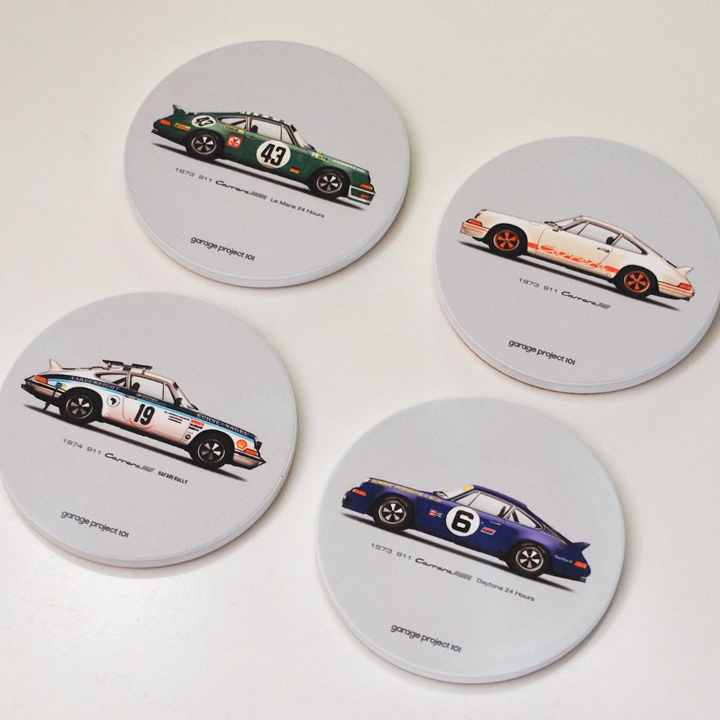 Set of 4 GarageProject101 1973 Classic 911 Carrera RS illustration Sandstone Coasters