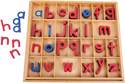 . Montessori Small Wooden Movable Alphabet with Box Red /& Blue, 5mm Thick