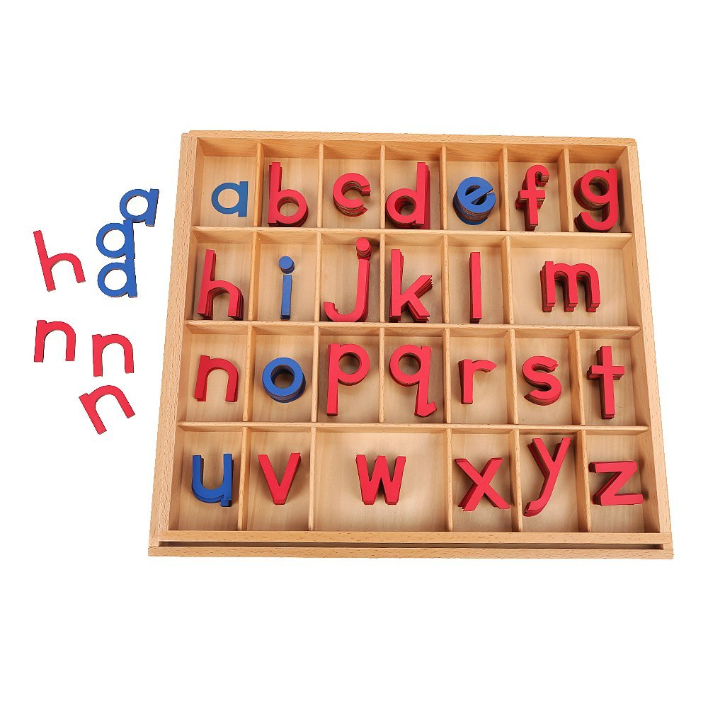 EOFEEL Montessori Wooden Movable Alphabet with Box for Kids Spelling and Learning (Red & Blue)...