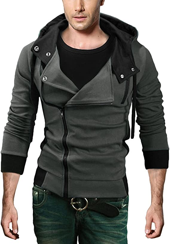Men 100/% Cotton Hooded Casual Turtleneck Slim Fit Zip Up Outwear Dark Grey M