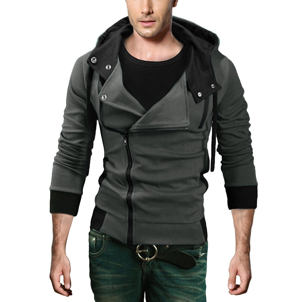 DJT Men's Oblique Zipper Hoodie Casual Top Coat Slim Fit Jacket Dark Grey M