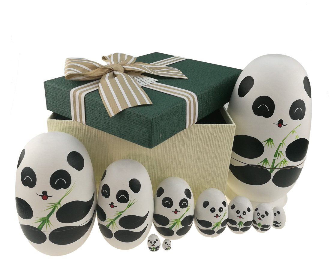 Apol Cute Panda With Bamboo Egg Shape Handmade Wooden Russian Nesting Dolls Matryoshka Doll Set 10 Pieces in a Exquisite Gift Box With Bow For Home Decoration Kids Toy Christmas Birthday Easter Gift by Apol (Image #1)