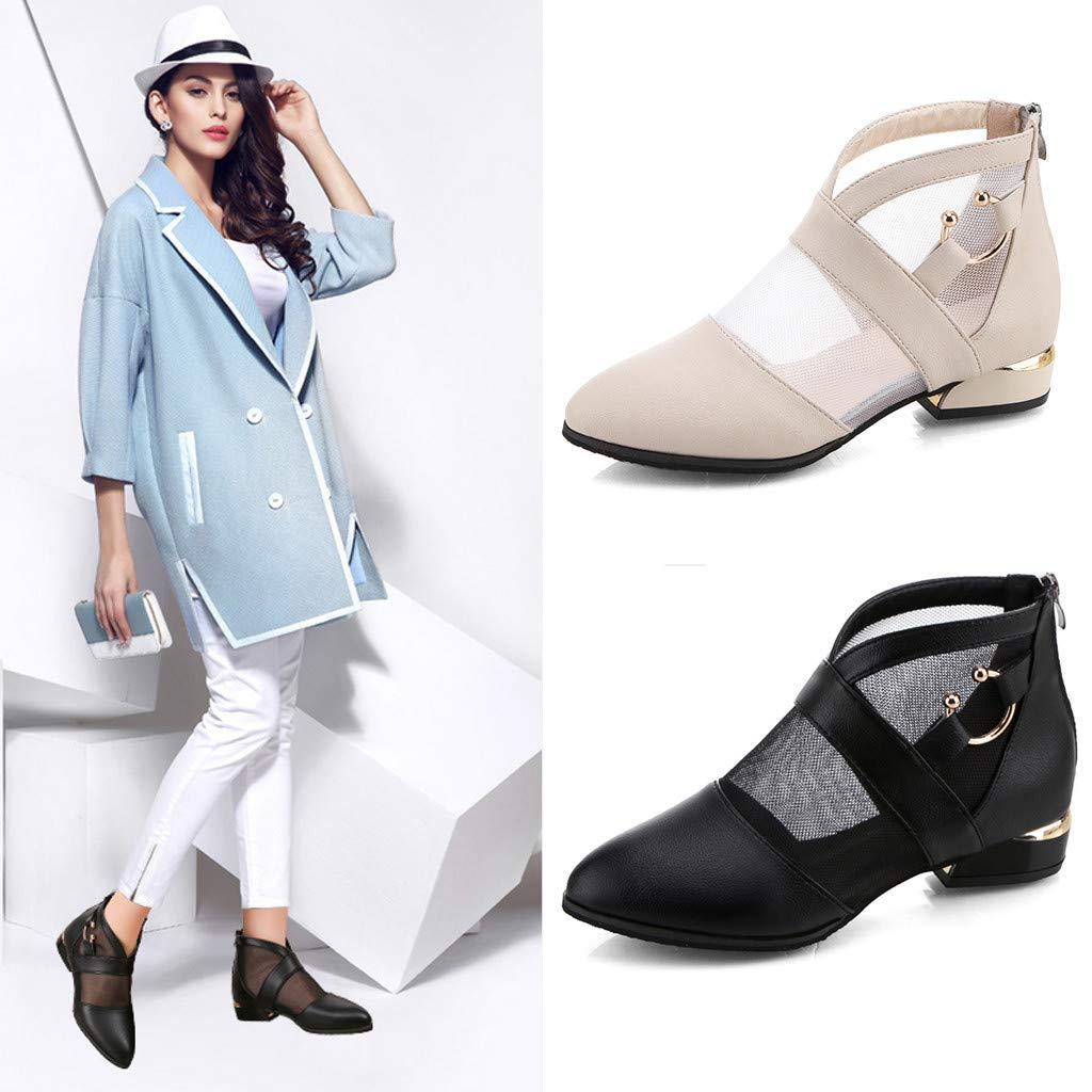 BEAUTYVAN Womens Fashion Closed Toe Mesh Low Heels Ankle Combat Boots Zipper Back Pointed Tip Sandals