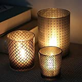 Simple Style Vintage Black Glass Candle Holder Sets of 3 Tealight Candle Cups For home hotel