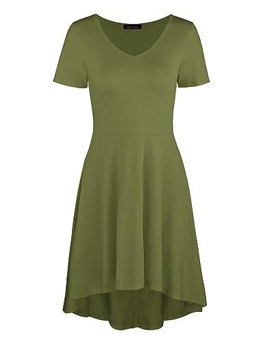 Ineffable Women's Casual Loose Swing Basic Cotton Dress
