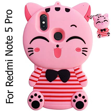 more photos f6c8d ed42c KC Cute Cartoon Lucky Cat Pink Stripe Case Soft Bumper Shockproof Back  Cover for Mi Redmi Note 5 Pro (Pink)