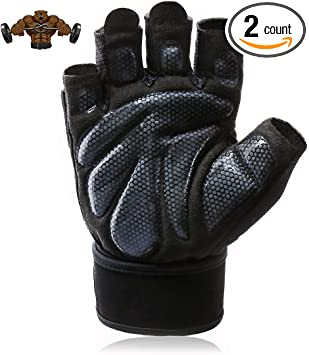 Aisence Bowling Gloves Silicone Anti-Skid Wrist Support Left and Right Hand Gloves for Sports Fitness Gym