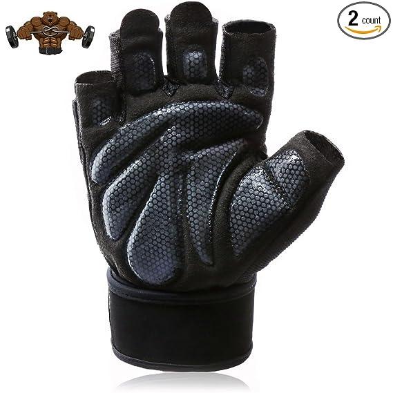 Amazon.com: Workout acolchado guantes con muñeca apoyo, luz ...