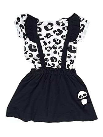 296fd878ffb New Ex High Street Store 2piece Panda Design White Black Animal Print  T-Shirt Top