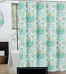 Cynthia Rowley Fabric Shower Curtain Orange Turquoise Yellow Medallions     Quincy  Cynthia Rowley Curtains