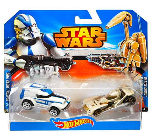 amazoncom hot wheels star wars character car 2 pack 501st clone trooper vs battle droid toys games
