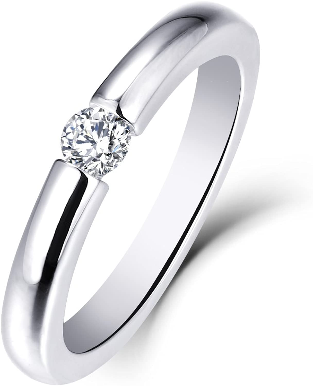 HI Color, SI Clarity 10K Rose Gold 1//4 Carat Moissanite Diamond Square-Shape Wedding Band Engagement Ring