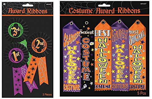 Halloween Trick or Treat Party Assorted Costume Award Ribbon and Button (Halloween Costume Contests)