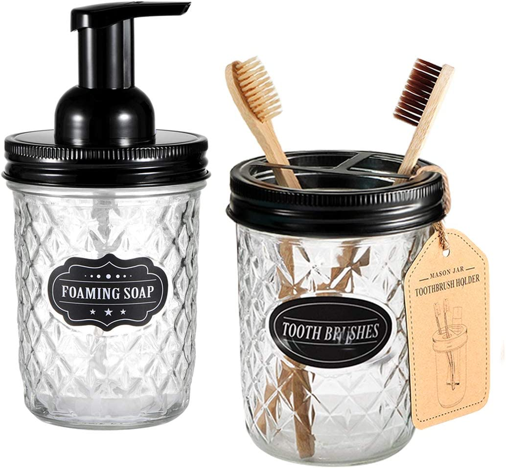Black Rustic Farmhouse Decor Apothecary Jars Bathroom Countertop and Vanity Organizer Mason Jar Bathroom Accessories Set Includes Mason Jar Foaming Hand Soap Dispenser and Toothbrush Holder