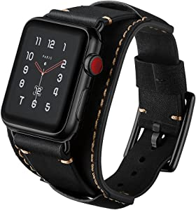 Ayigo Compatible with Apple Watch Band 44mm 42mm,Men Women Classic Genuine Leather Cuff Bracelet Strap Compatible Apple Watch Series 4/3/2/1 iWatch (Crazy Horse Cuff Black, 42/44mm)