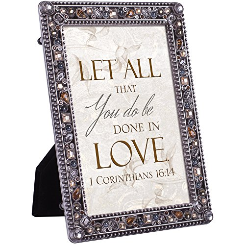 Finish Pewter Baby Frame (Cottage Garden All That You Do Be Done in Love Jeweled Pewter Finish 4x6 Photo Frame Plaque)