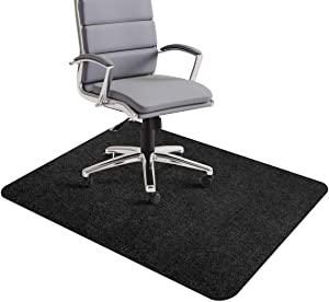 "Office Chair Mat, Hard-Floor Mat for Desk, 1/6"" Thick 35""x55"" Low-Pile Desk Chair Mat for Hardwood Floors, Multi-Purpose Protector Chair Carpet for Home (Black)"