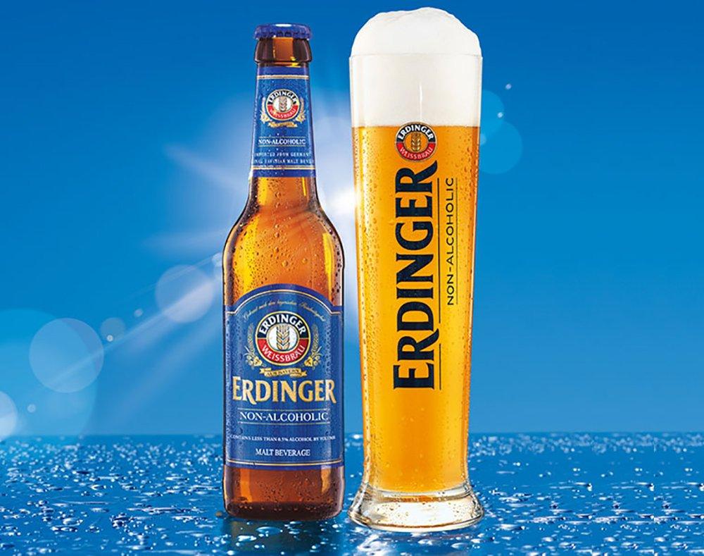 Erdinger Non-Alcoholic Malt Beer, The Refreshing Isotonic Recovery Drink, 11.2-oz (330 ml) Glass Bottles (12 Pack)