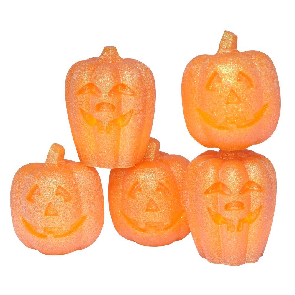Eldnacele Set of 5 Pumpkin LED Candles for Halloween, Flameless Flickering Candles with Timer, Jack O Lantern