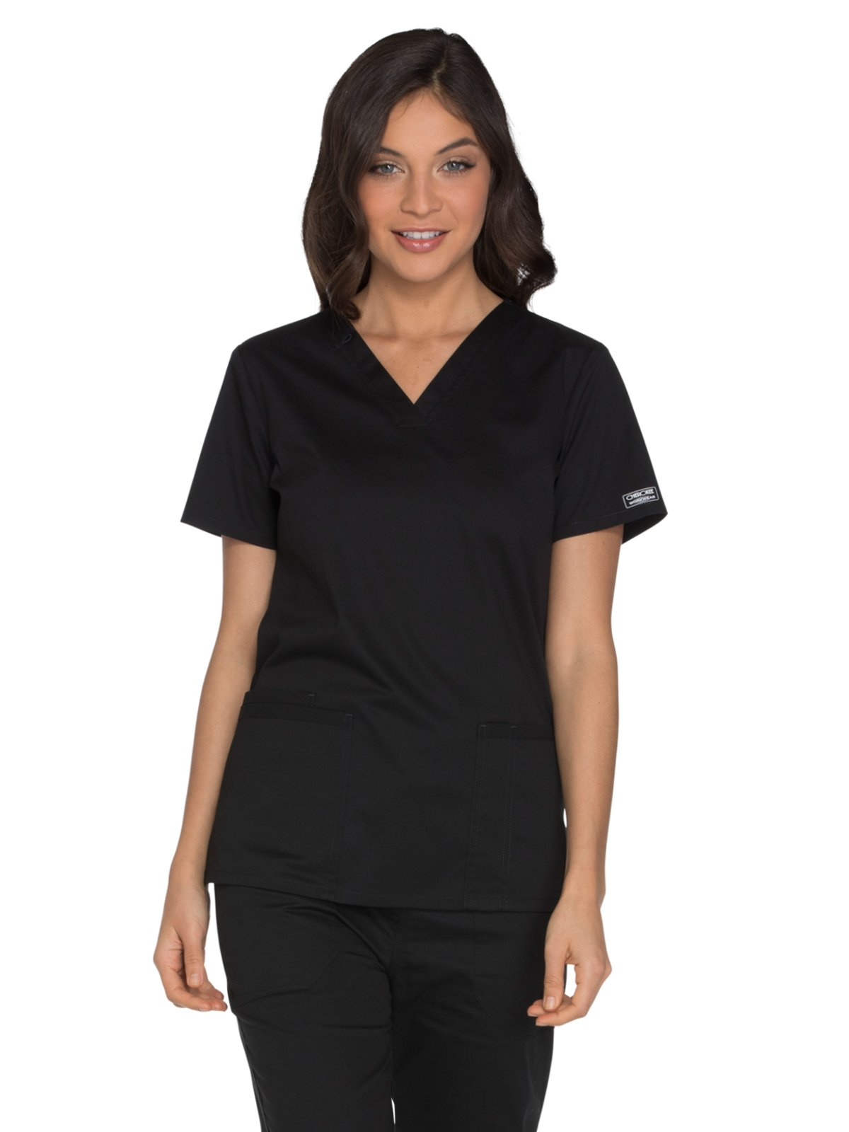 Cherokee Core Stretch by Workwear Women's V-Neck Solid Scrub Top Medium Black