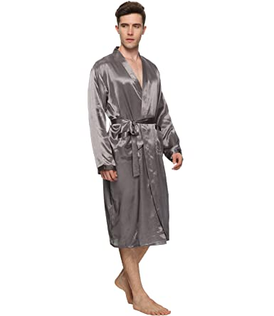 8e6deb3689 FAYBOX BRIDAL Men Satin Robe Long Bathrobe Lightweight Dressing Gowns   Amazon.co.uk  Clothing