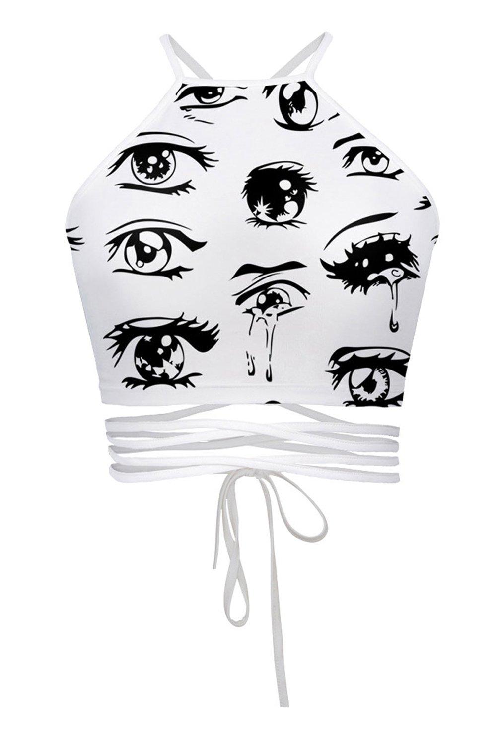 Women's Teens Girls Juniors Halter Sexy Vest Crop Top Shirt(White Eyes)