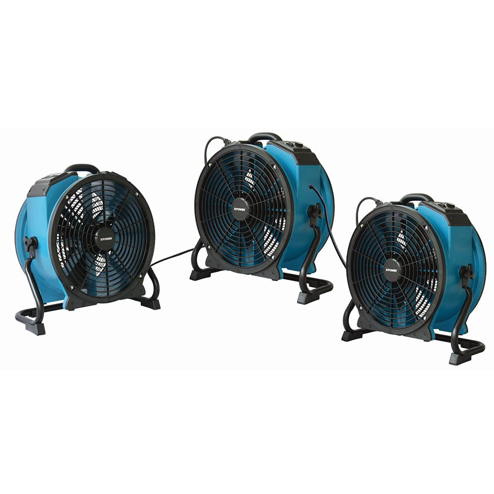 XPOWER X-47ATR 1/3 HP Sealed Motor Axial Air Mover Fan - with Variable Speed Control, 3 Hour Timer - Blue