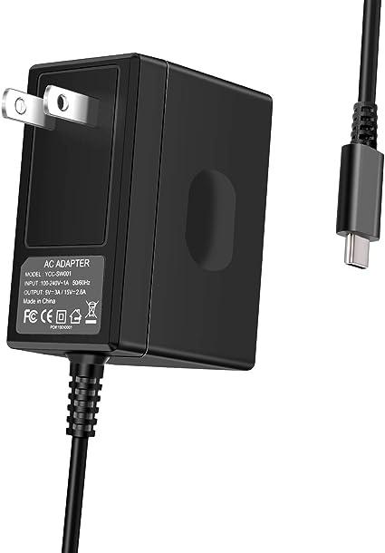 Cargador de interruptor para Nintendo Switch, adaptador de CA tipo C, cargador portátil de carga rápida,