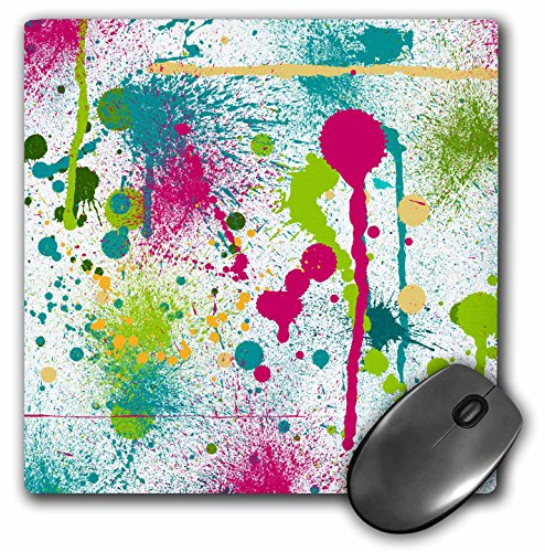 3dRose LLC 8 x 8 x 0.25 Inches Mouse Pad, Funky Paint Splatters (mp_32523_1)