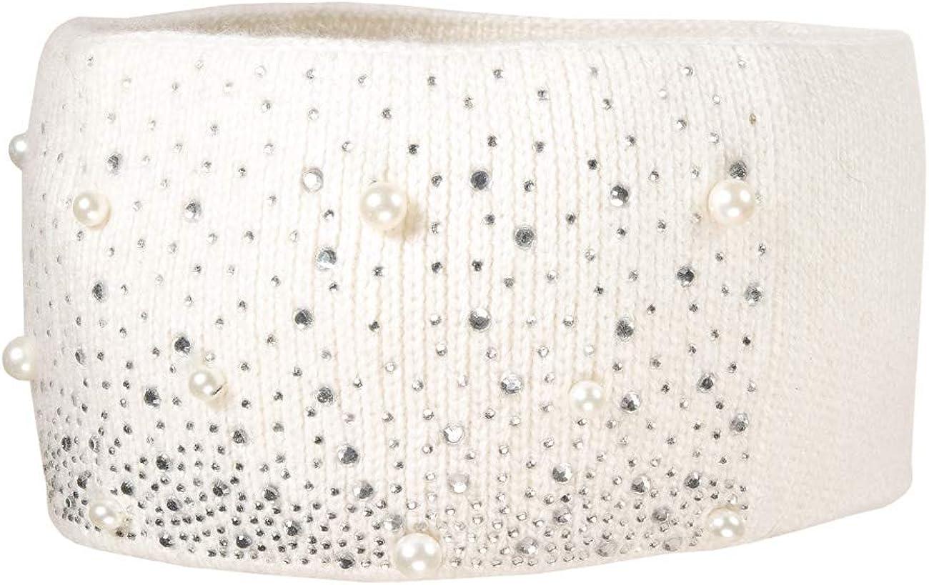 Wollwei/ß 38 51//53 Bambina MaxiMo mit Strass und Perlen Fascia Bianco
