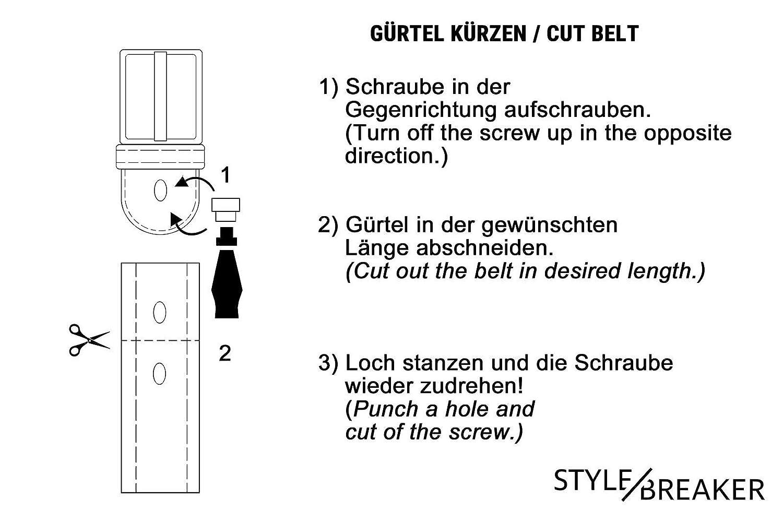 styleBREAKER cintur/ón de mujer monocolor con hebilla doble ovalada y entrelazada acortable 03010099