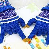Pyrsun(TM) Women Warm Knitting Mittens Winter Gloves Girls Sweet Flower Pattern Wool Gloves Full Finger Touch Screen Fashion Warmer Guantes