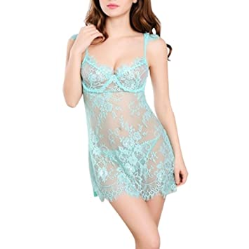 Gaddrt Sexy Mujer Babydoll Ropa de Dormir Pijamas tentación ropa interior sexy lencería, azul claro