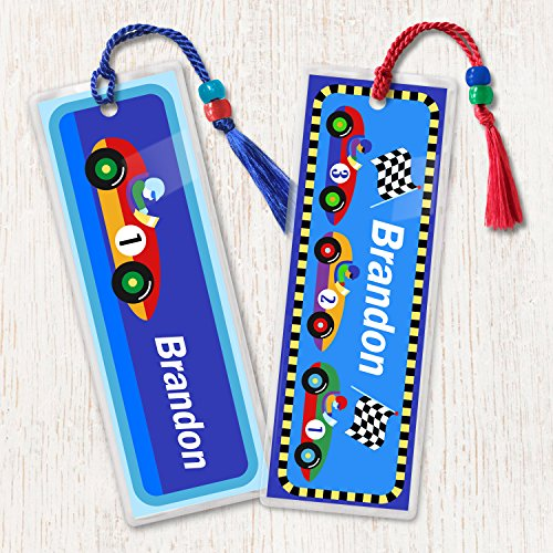 Kids Personalized Vroom Bookmark Set, Kids Race Car Bookmark Set of 2, Laminated Bookmarks ()