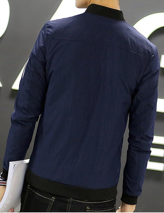 Hombre Manga Larga Tops Chaqueta Abrigo Ropa Ligera Foso Escudo Slim Fit Casuales Abrigo Gris XL cThqTs