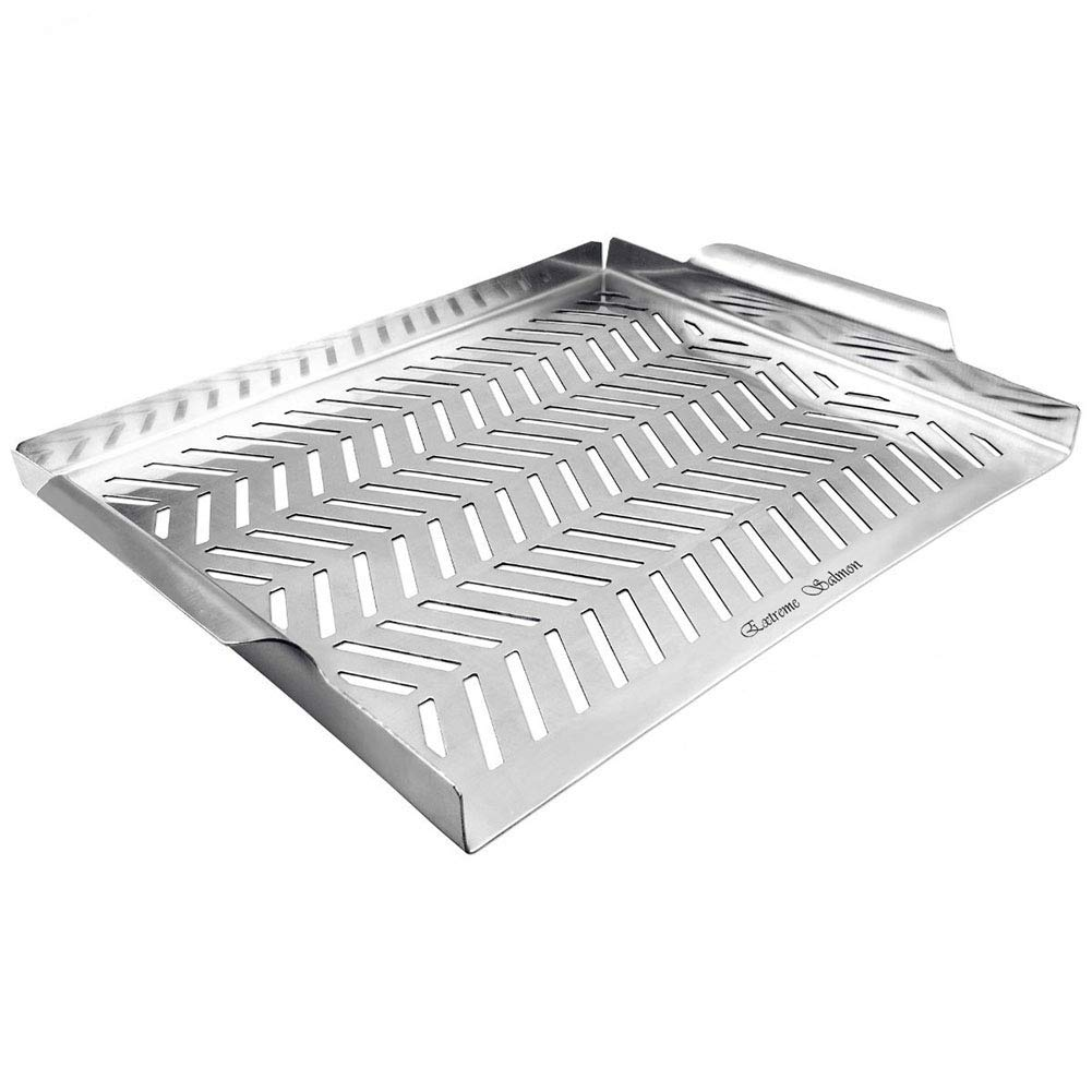 Extreme Salmon BBQ Grill Pan for Vegetables, Grill Topper Stainless Steel BBQ Grill Wok with Handles Professional Grill Cookware Grill Accessories for Barbecue Grills Outdoor Cooking by Extreme Salmon