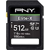 PNY 512GB Elite-X Class 10 U3 V30 SDXC Flash Memory Card - 100MB/s, Class 10, U3, V30, 4K UHD, Full HD, UHS-I, Full Size SD
